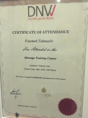 مدرک مربیگری ماساژ از شرکت DNW انگلستان